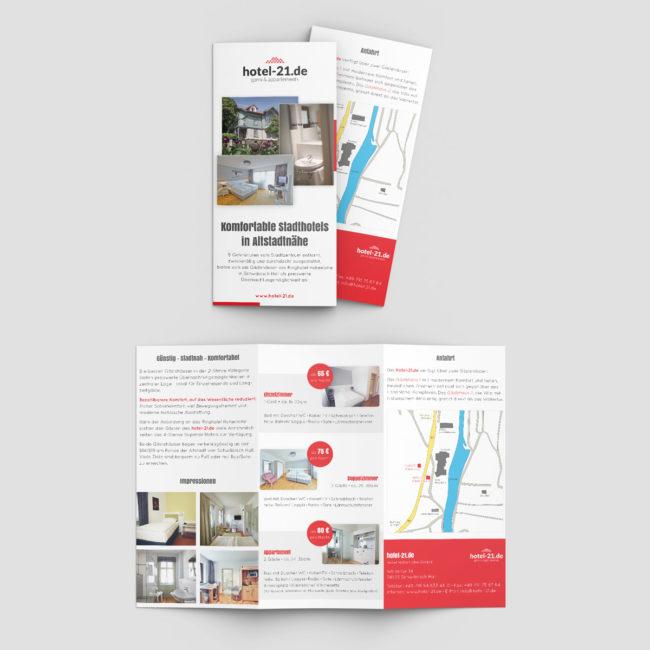 Grafik Design - Flyer Hotel-21.de Schwäbisch Hall PRINT DESIGN publikwerk