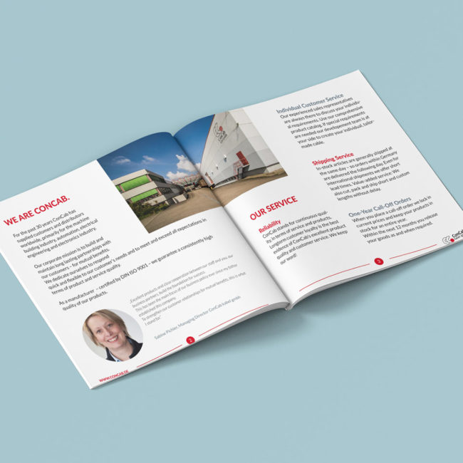 Graphik Design - Graphic Design - Broschüre ConCab kabel gmbh - Gestaltung von publikWERk in Schwäbisch Hall PRINT DESIGN publikwerk